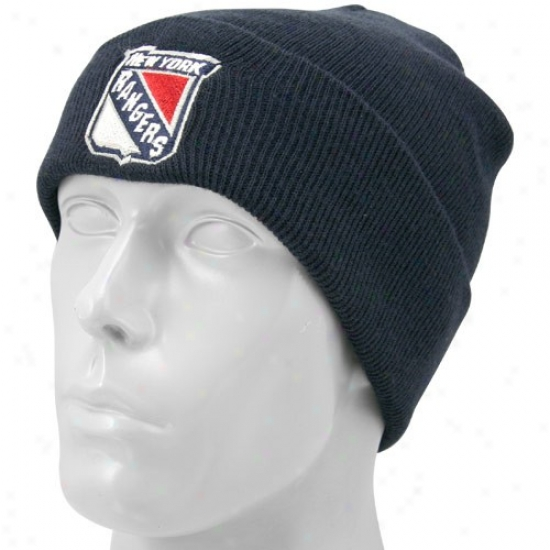 New Yof Rangers Caps : Twins Enterprise New York Rangers Navy Blue Knit Beanle