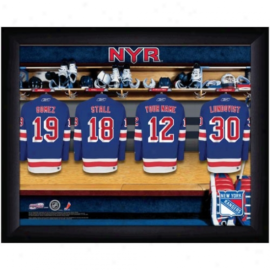 New York Rangers Customized Locker Room Black Framed Photo