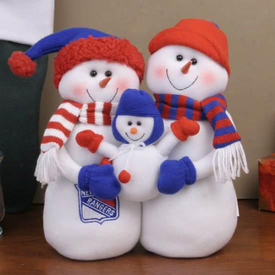 New York Rangers Decorative Table Top Snowman Family Figurine