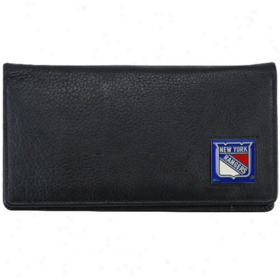 New York Rangers Executive Black Leather Checkbook Cover