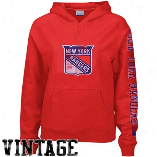 New York Rangers Fleece : Reebok New York Rangers Ladies Red Ginormous Logo Vintage Fleece