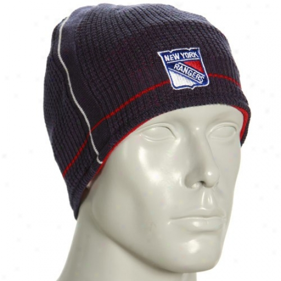 New York Rangers Gear: Reebok New York Rangers Navy Blue-red Official Team Reversible Beanie