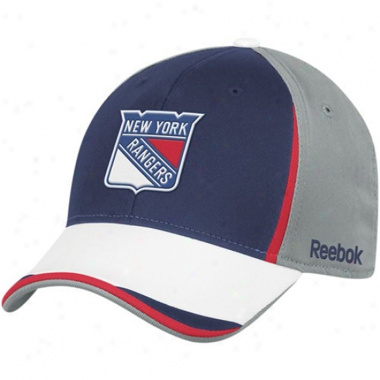 New York Rangers Gear: Reebok New York Rangers Gray-navy Blue Nhl 2010 Draft Day Flex Fit Hat