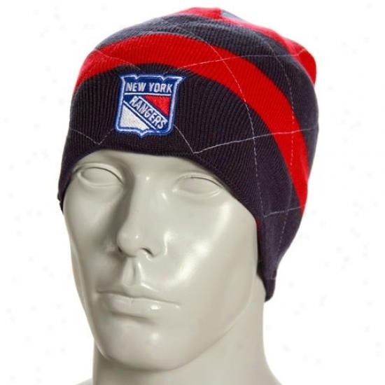 New York Rangers Hat : Reebok New York Rangers Navy Melancholy Band Reversible Knit Beanie