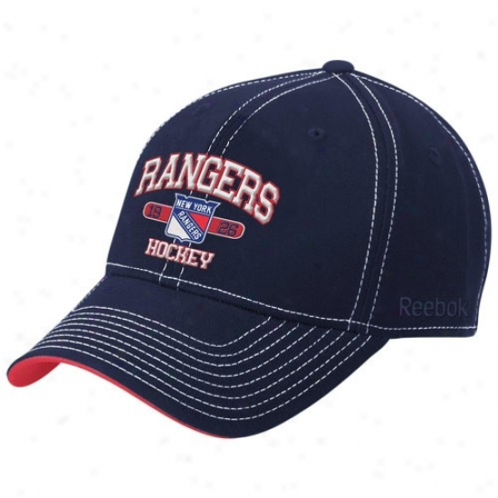 New York Rangers Hats : Reebok New York Rangers Navy Melancholy Classic Arch Structuured Adjustable Hats