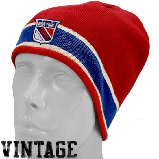 New York Rangers Hats : Reebok New York Rangers Red Vintage Knit Beaie