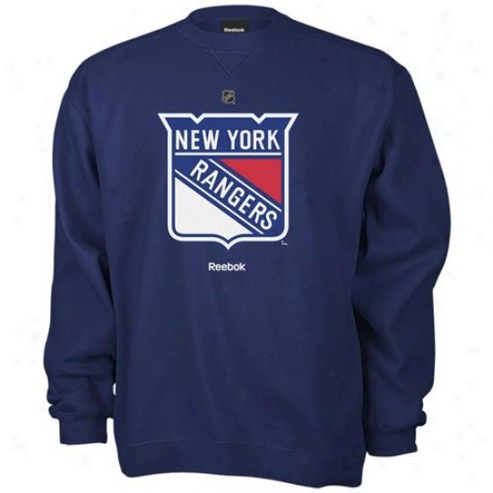 New York Rangers Hoodie : Reebok New York Rangers Navy Blue Primary Logo Crew Hoodie