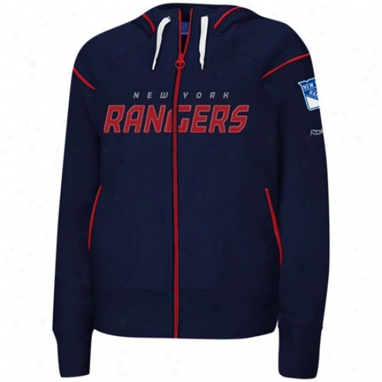 New York Rangers Hoodie : Reebok Just discovered York Rangers Ladies Naavy Blue Dazzls Trim Full Zip Hoodie