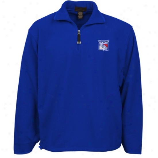 New York Rangers Hoody : Antigua New York Rangers Royal Blue Ice-torrent 1/4 Zip Hood6 Pullover