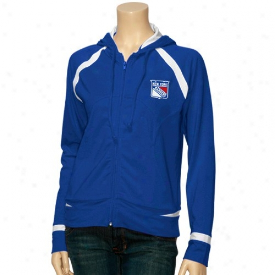New York Rangers Hoody : New York Rangers Ladies Royal Blue Stride Track Hoody Jacket