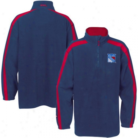 New York Rangers Hoodus : Majestic New York Rangers Royal Blue Made of ~ Stopple 1/4 Zip Hoodys