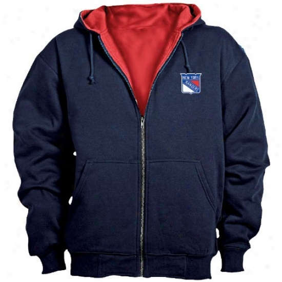 New York Rangers Hoodys : New York Rangers Navy Blue Craftsman Workman's Abundant Zip Hoodys