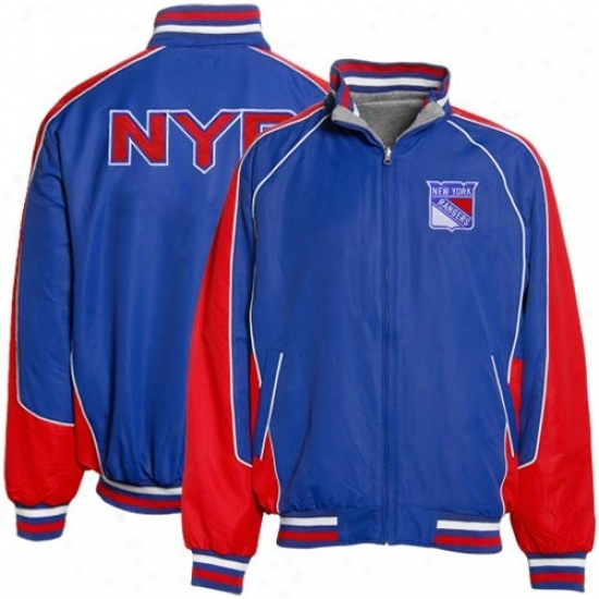 New York Rangers Jacket : Recent York Rangefs Red-navy Blue Ottoman Reversible Full Zip Jacket
