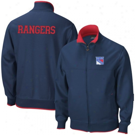 New York Rangers Jerkin : Reebok New York Rangers Navy Blue Mvp Track Jacket