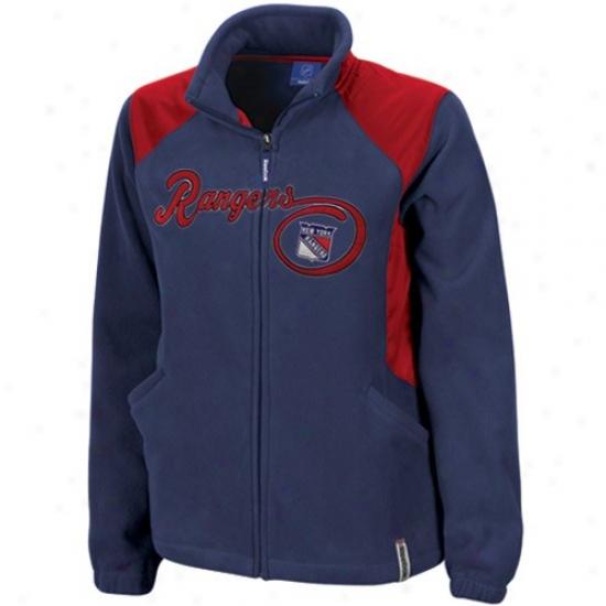 New Yprk Rangers Jacket : Reebok New York Rangers Ladies Navy Blu3 Rhythm Microfleece Full Zip Jacket