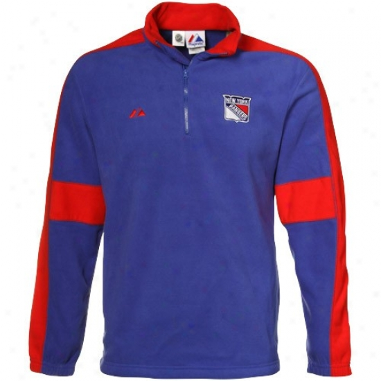 New York Rangers Jackets : Majestic New York Rangers Royal Blue-red Clear Victory 1/4 Zip Sweatshirt