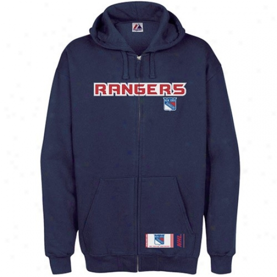 New York Rangers Jackets : Majestic New York Rangers Navy Blue Classic Full Zip Hoody Sweatshirt