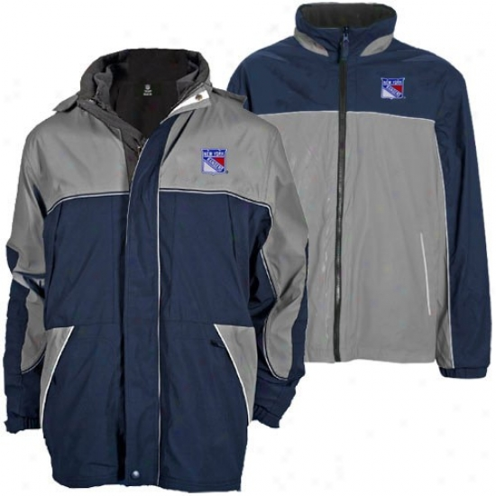 New York Rangers Jackets : New York Rangers Navy Blue-gray Quadrant Outer Shell Full Zip Heavyweight Reversible Jackets