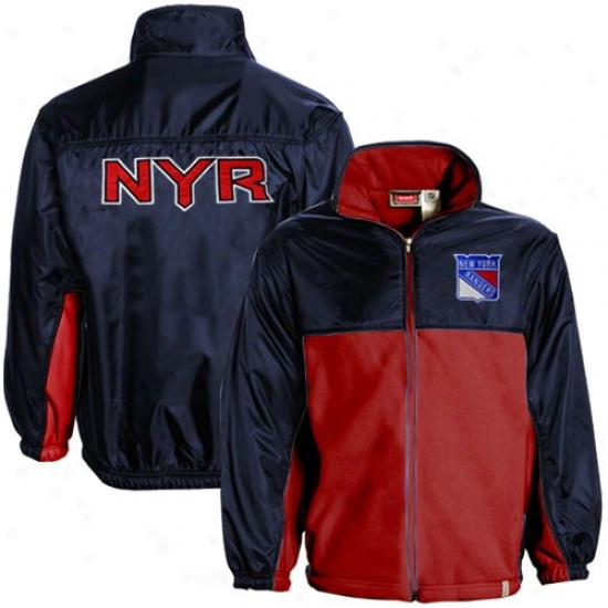 Nrw York Rangers Jackets : Reebok New York Rangers Youth Navy Blue-red Full Zip Fleece Jackets