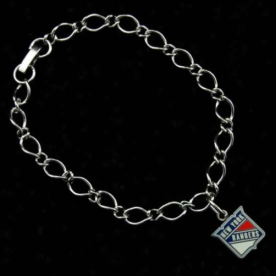 New York Rangers Ladies Silver-tone Charm Bracelet
