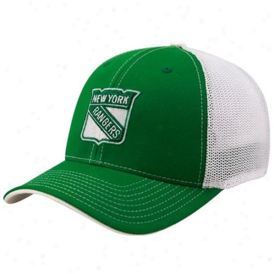 New York Rangers Merchandise: Reebok New York Rangers Kelly Green St. Patrick's Day Structured Ensnare Back Flex Fit Hat
