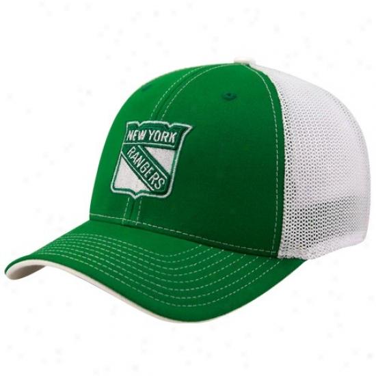 New York Rangers Merchandise: Reebok New York Rangers Kelly Green St. Patrick's Day Structured Ensnare Back Flex Fit Hat