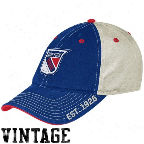 New York Rangers Merchandise: Reebok New York Rangers Royal Blue-white Established Logo Vintage Slouch Hat