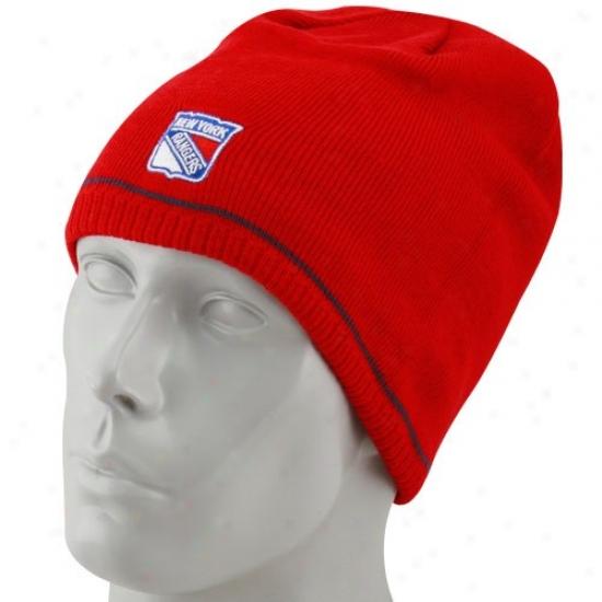 New York Rangers Merchandise: Reebok New York Rangers Red-navy Melancholy Reversible Official Team Beanie