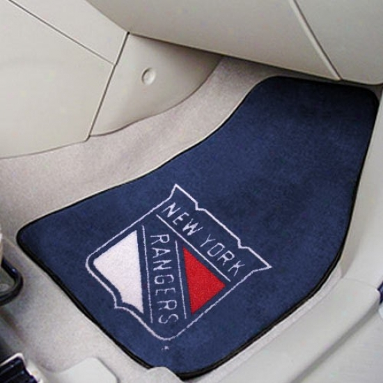 New York Rangers Navy Blue 2-piece Carpet Car Mat Set