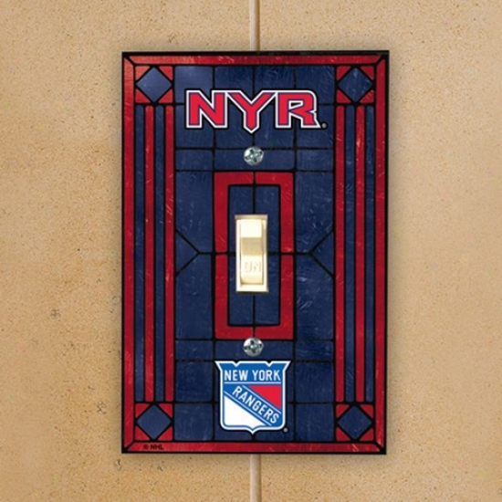 New York Rangers Navy Melancholy Art-glass Switch Plate Cover