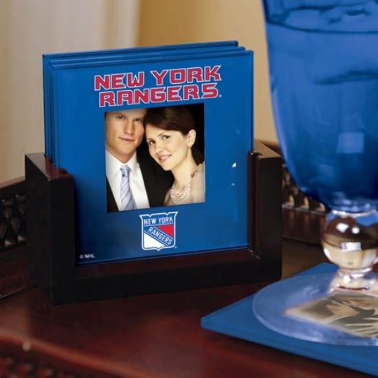 New York Rangers Royal Blue 4-pack Photo Coaster Set