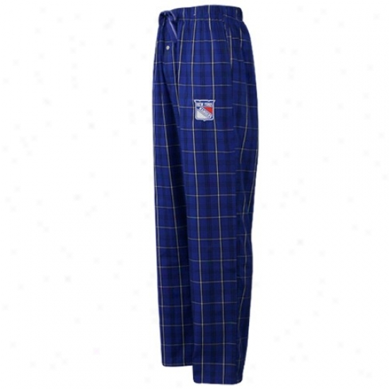 New York Rangers Royal Blue Plaid Genuine Pajama Pants