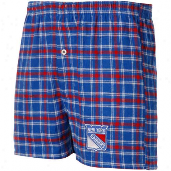 New York Rangers Royal Blue-red Plaid Match-up Boxer
