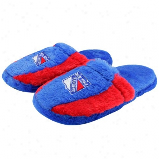 New York Rangers Royal Blue-red Plush Slide Slippers