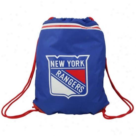 New York Rangers Royal Blue Team Logo Drawstring Backpack
