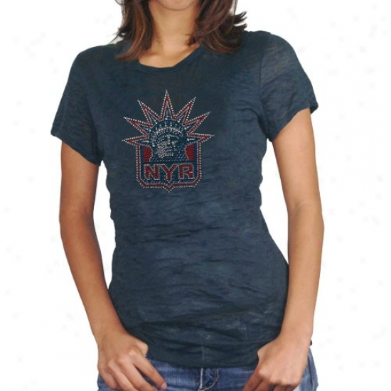 New York Rangers Shirt : New York Rangers Ladies Navy Blue Rhinestone Burnout Premium Shirt