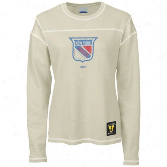 New York Rangers Shirt : Reebok New York Rangers Ladies Cream Classic Logo Waffle Lomg Sleeve Head