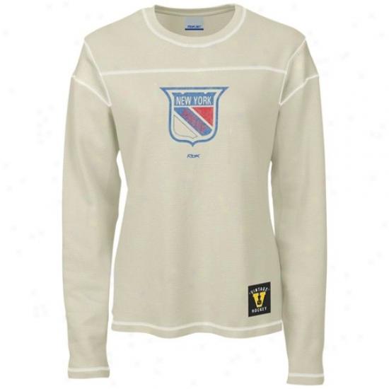 New York Rangers Shirt : Reebok New York Rangers Ladies Cream Classic Logo Waffle Lomg Sleeve Head