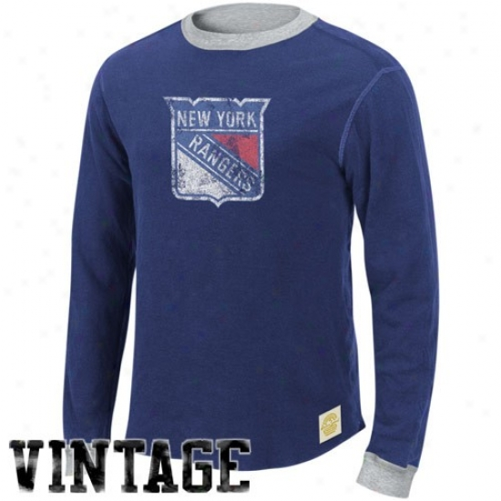New York Rangers Shirt : Reebok New York Rangers Navy Blue-ash Reversible Double Knit Long-winded Sleeve Vintage Shirt