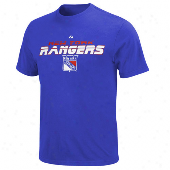 New York Rangers Shirtss : Majestic New York Rangers Rohal Blue Attack Belt Shirts
