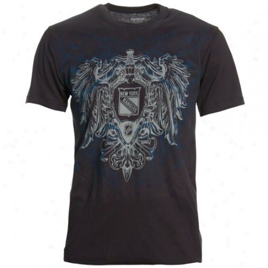 New York Raangers Shirts : Reebok New York Rangers Indigo Emblem of vengeance & Shield Shirts