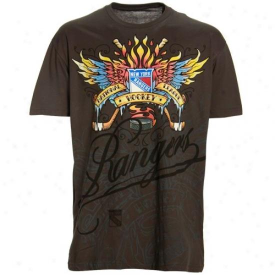 New York Rangers Shirts : Reebok New York Rangers Charcoal Flame Thrower Super Soft Premium Shirts