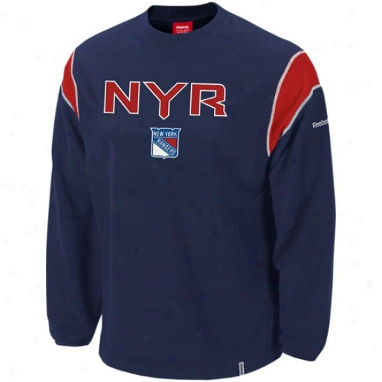New York Rangers Stuff: Reebok New York Rangers Navy Dismal Protector Fleece Crew Sweatshirt