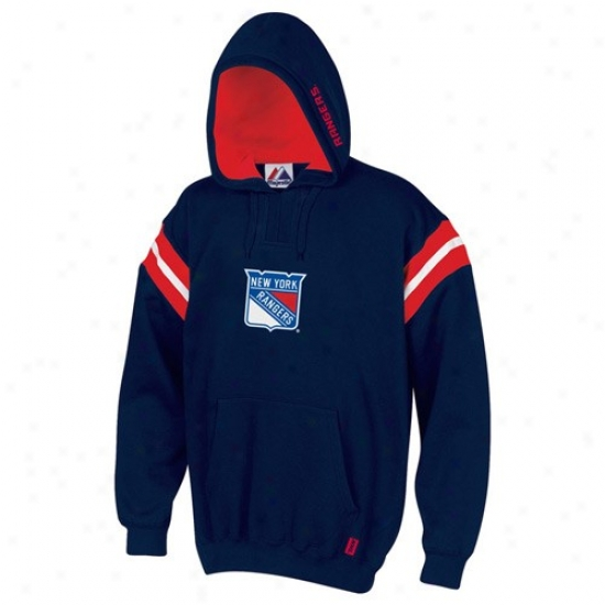 New York Rangers Sweat Shirt : Majestic New York Rangers Navy Blue Pumped Up Sweat Shirt