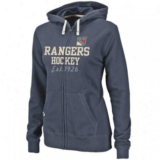 New York Rangers Sweat Shirts : Splendid New York Rangers Ladies Navy Blue Prosperous Charm Full Zip Sweat Shirts