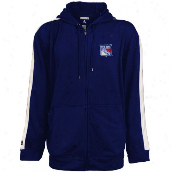 New York Rangers Sweatshirt : Antigua New York Rangers Royal Blue Sonic Comprehensive Zip Sweatshirt