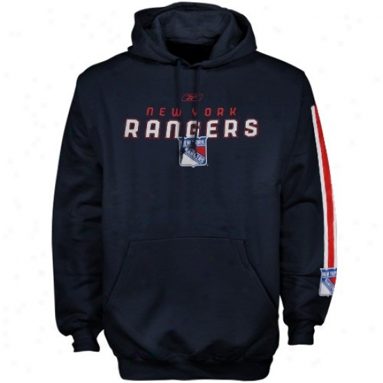 New York Rangers Sweatshirt : Reebok New York Rangers Navy Azure Sharp Edge Sweatshirt