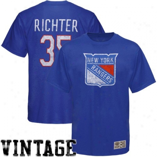 New York Rangers T-shirt : Old Time Hockey New York Rangers #35 Mike Richter Royal Dismal Alumnni Vintage Player T-shirt