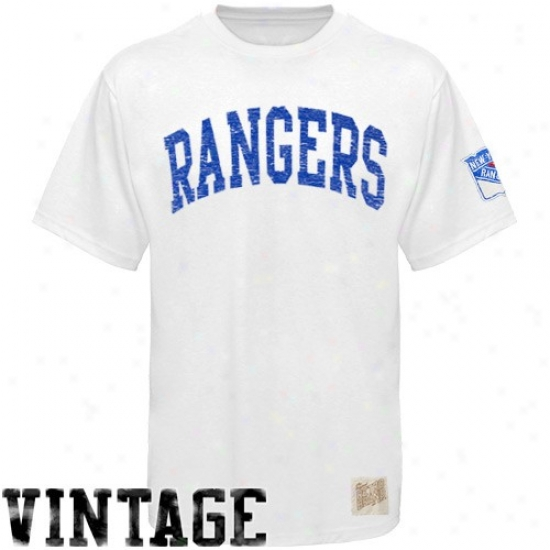 New York Rangers T-shirt : Original Retro Brand New York Rangers White Arched Lettering Vintage Washed Premium T-shirt