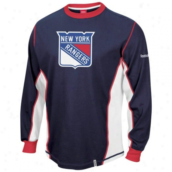 New York Rangers T-shirt : Reebok New York Rangers Navy Blue Downforce Constructed Long Sleeve Premium T-shirt